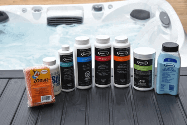 Various chemicals used to clean hot tubs